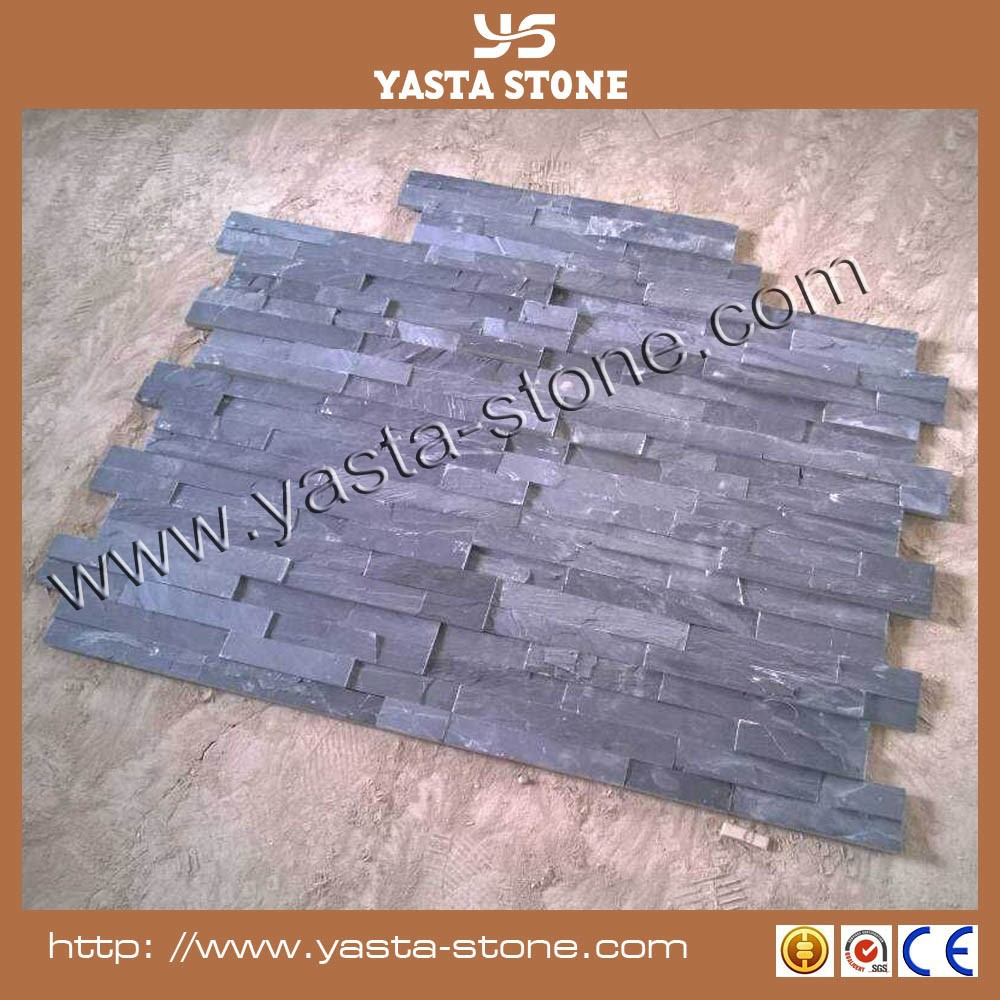 Natural Stone Facade Stack Black Slate Wall Stone