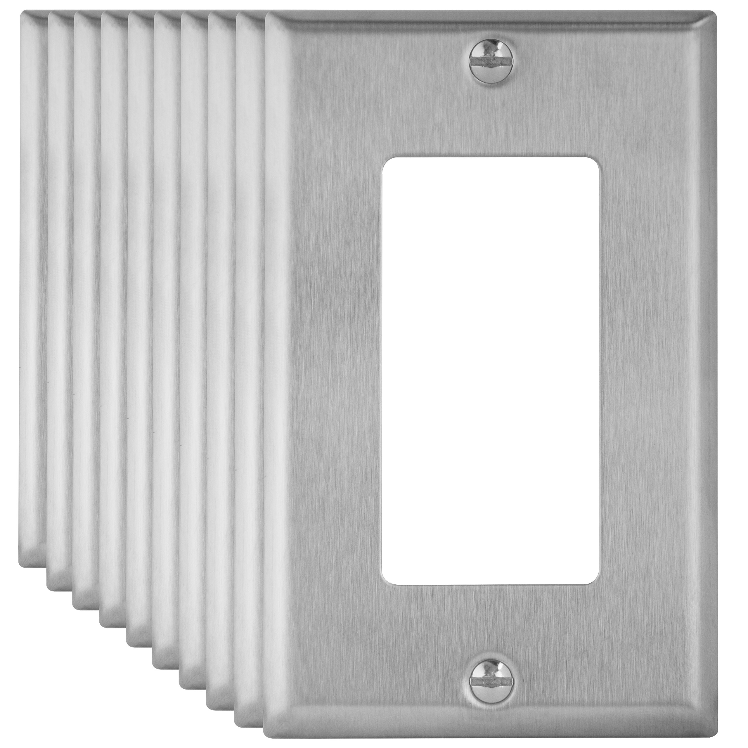 Enerlites 7731-10PCS Decorator Swtich Stainless Steel Wall Plate 1-Gang, Standard Size, 430 Grade Metal Plate Alloy Corrosive Resistant Cover for Rocker Paddle Light Switch GFCI Devices (10 Pack)