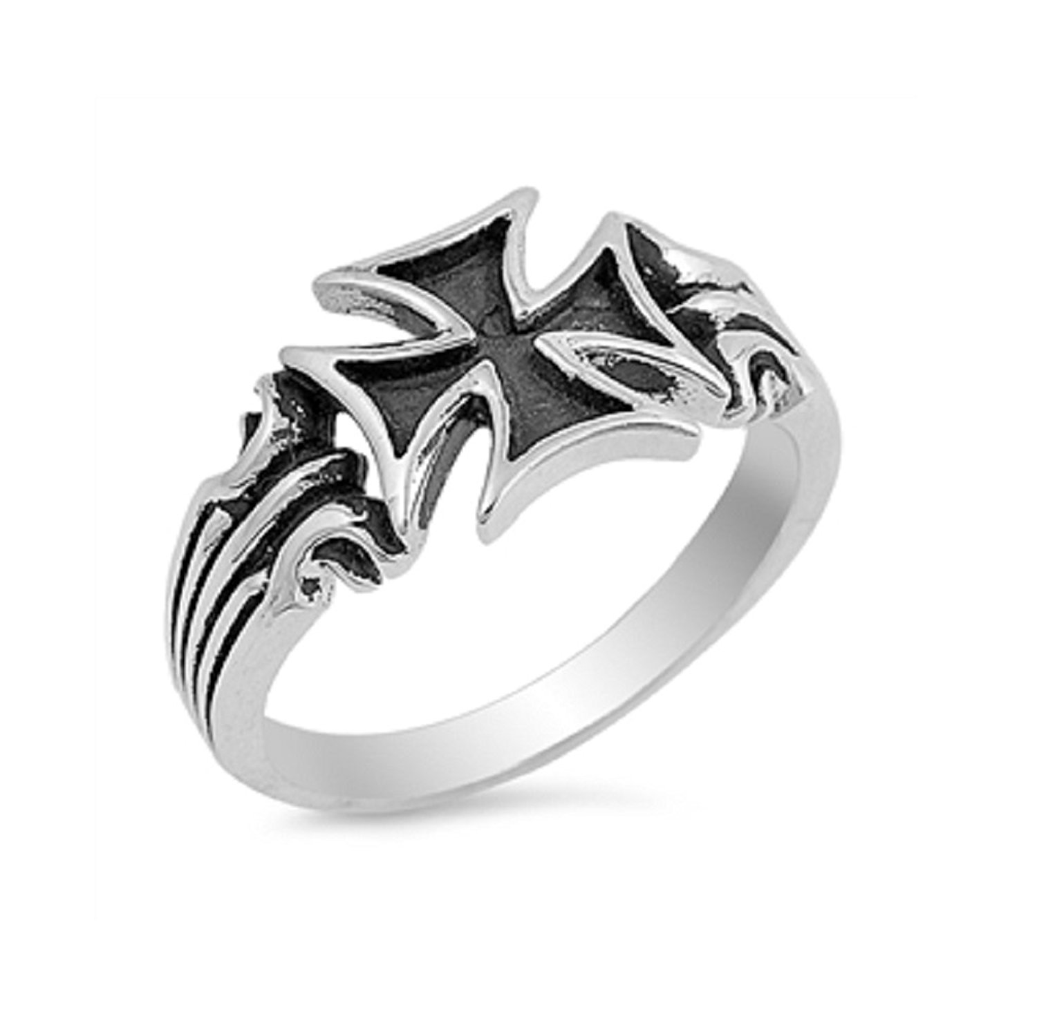 CloseoutWarehouse Oxidized Sterling Silver Jesus Ring