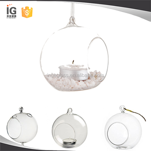 Wholesale 8cm Cheap Clear Hanging Glass Candle Holder Tealight Holder