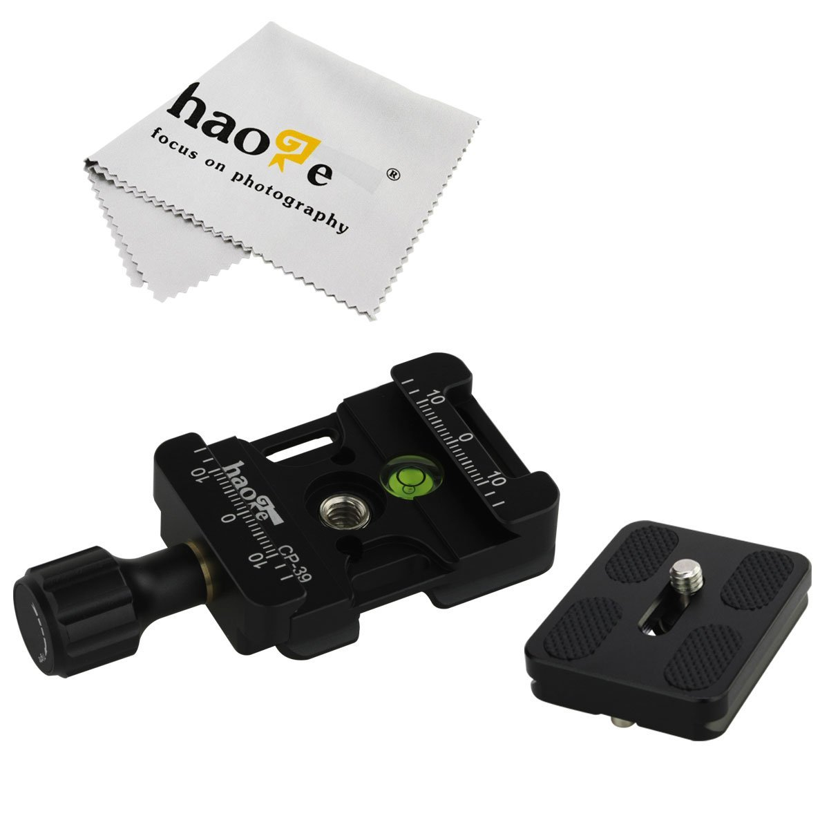 Haoge CP-39 Screw Knob Quick Release Clamp Adapter with Hand Strap Bosses Boss Slot and 50mm Plate for Canon Nikon Sony Pentax Olympus Fujifilm Camera