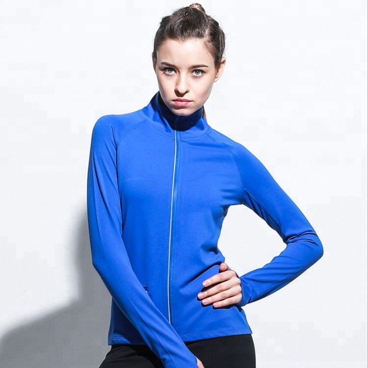 Women's Jersey Full Zip Hoodie Fitness Workout Running Jackets