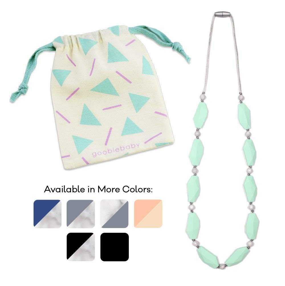 Goobie Baby Naomi Silicone Teething Necklace for Mom to Wear, Safe BPA Free Beads to Chew - Mint/Marble