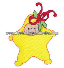 Yellow star embroidered children kids apparel patch iron on badge