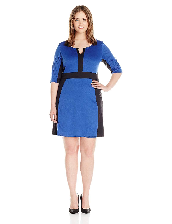 11387f4e90b2 Get Quotations · Star Vixen Women's Plus Size Elbow Sleeve Ponte Knit  Colorblock Fit N Flare Dress
