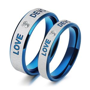 Classic stainless steel cubic zirconia forever love blue couples promise wedding band rings