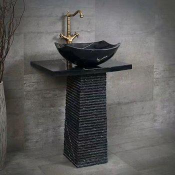 pedestal by phoenix stone photo sink traditional bathroom cantera