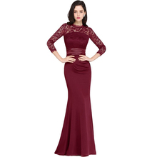 Cheap Burgundy Mermaid Long Formal Evening Dresses Night Gown Long Sleeve Lace Prom Party Gowns