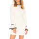 YL Fashion Autumn New Women Mini White Dress Long Sleeve O Neck Ladies Dress Flared Sleeve Casual Dress for Wholesale