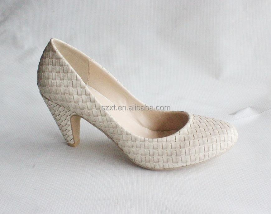 Elegant Small Women&39s Mid Heels Shoes Beige Color Bridal 6cm High