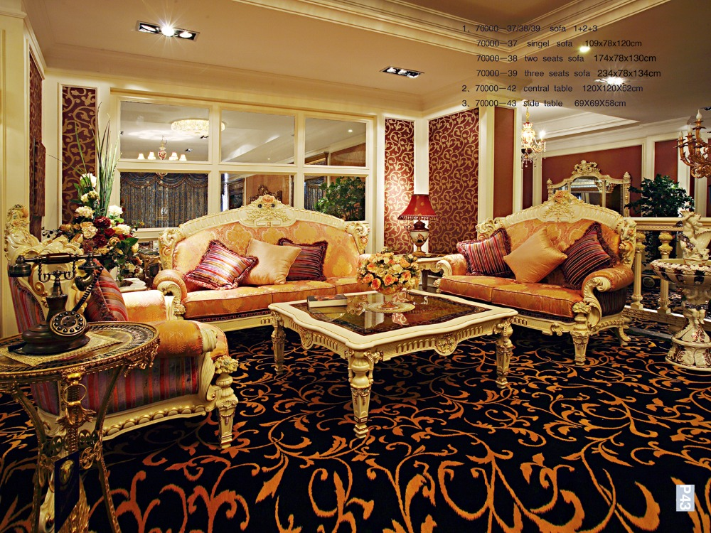 Luxury French Rococo Wood Carved Goldleaf Living Room Sofa Set European Antique Royal Palace Golden