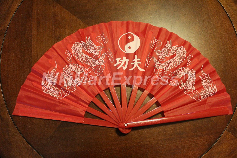 Oriental Dragon Kung Fu/Tai Chi/Dance/Practice Performance Hand Folding Fan Red