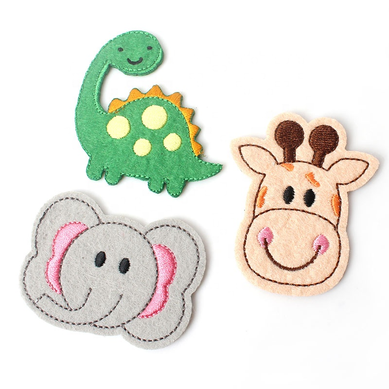Eco Sew On Applique Felt Fabric Embroidery Cute Cartoon Animal Logo Labels Patches for Kids and Baby
