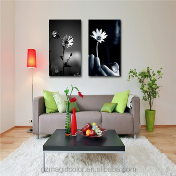 Black And White Flower Canvas Painting For Living Room