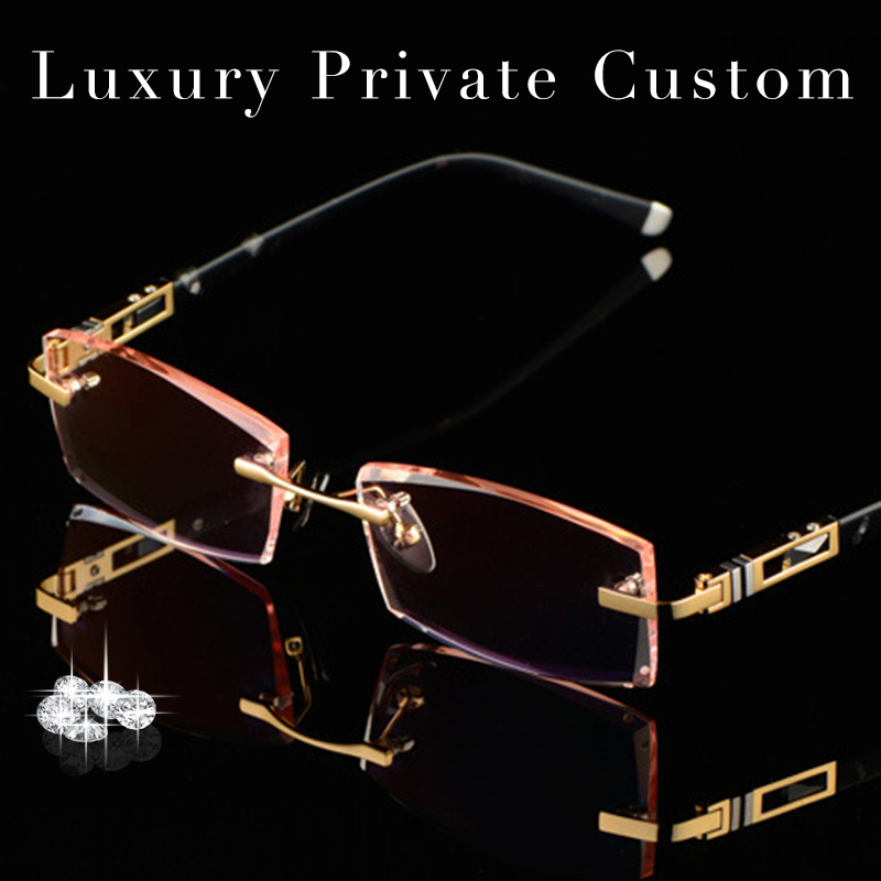 Luxury Private Custom Titanium Eyeglasses Rimless Men 1 61