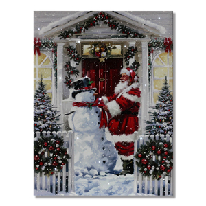 Merry Christmas decorative painting lighted art framed led wall art picture