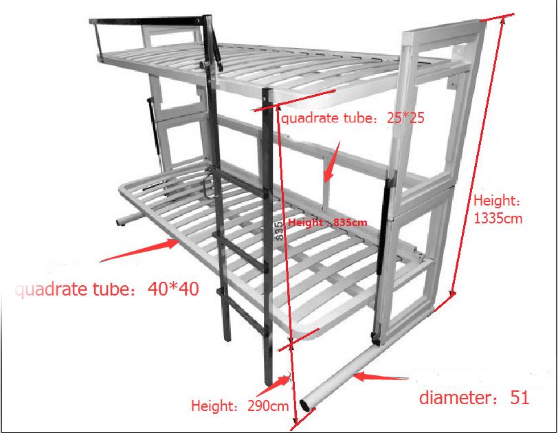 Muebles De Dormitorio Dos Piso Cama De Almacenamiento Mecanismos De ...