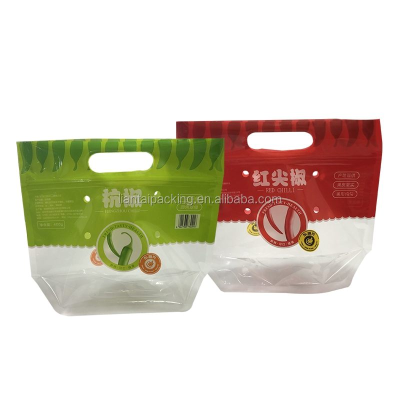 FDA approved zip lock printing pouches punch hole custom fruit plastic bags for vegetable