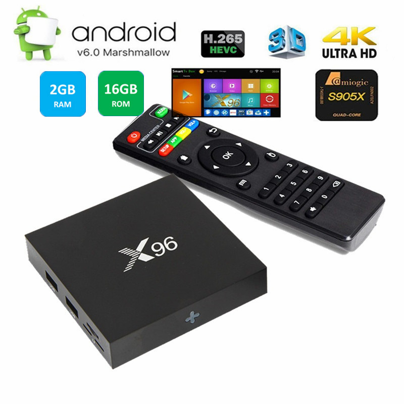 x96 TV Box s905x 2G+16G Quad Core 64bit CPU Android 6.0 OS Mini PC x96 firmware android box TV