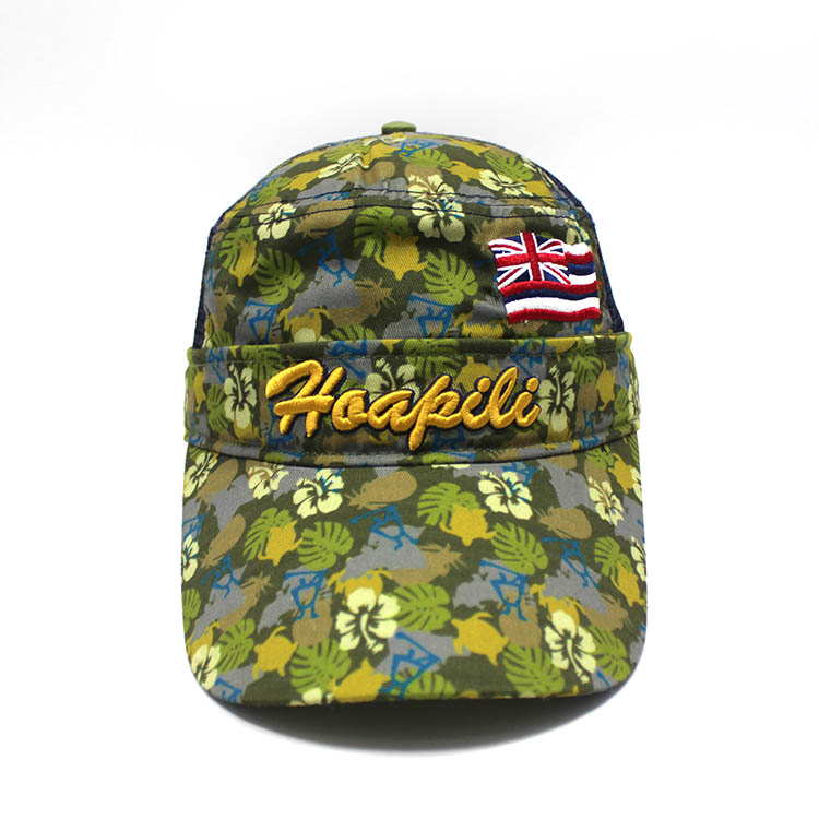high quality custom camo printing logo trucker cap/hats