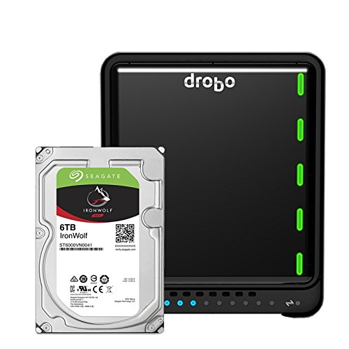 Drobo 5D3 24TB: 5-Drive Direct Attached Storage (DAS) Array with 4x6TB Seagate IronWolf HDDs – Dual Thunderbolt 3 and USB 3.0 type C ports (DRDR6A21-24TB)