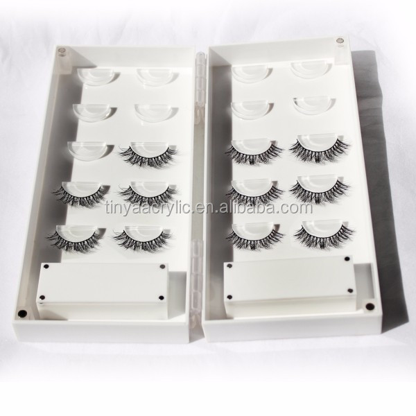 New white lashbook lash organizer acrylic false eyelash storage box empty 10pair eye lashes in both inner side for Holiday gift