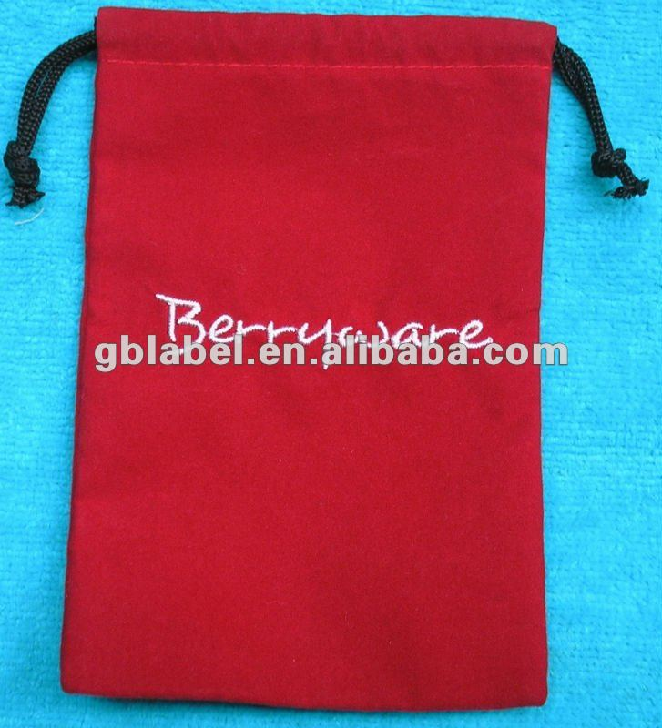 promotional embroidered logo velvet pouch gift bags
