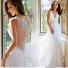 Women Chiffon Long White Wedding Bride Dress Deep V Neck