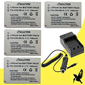 Four Halcyon 1200 mAH Lithium Ion Replacement Battery and Charger Kit for Canon PowerShot SX50 HS Digital Camera and Canon NB-10L