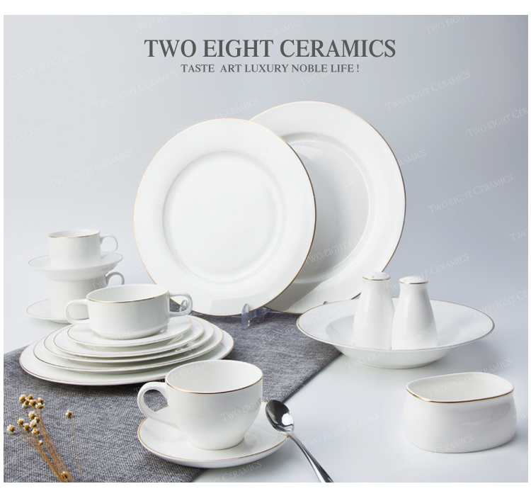 High new bone china dinner set with gole charger plate unique luxury golen rim ceramic diner ware gold cutlery set for banquet