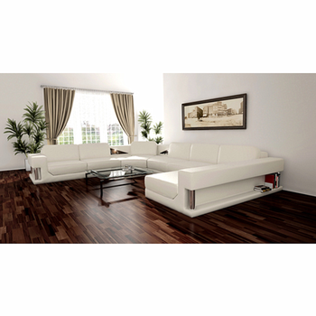 CBMMART modern living room furniture luxury leather sofa set U shaped sectional couch living room sofas