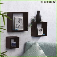Decorative set of 3 floating wall display shelf Homex-BSCI Factory