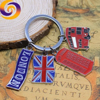 London Britain tour souvenir enamel big ben guitar bus flag charms keychain keyring