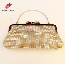 2017 No.1 Yiwu commission agents wanted Elegant gold evening bag crystal clutch bag clutch purse