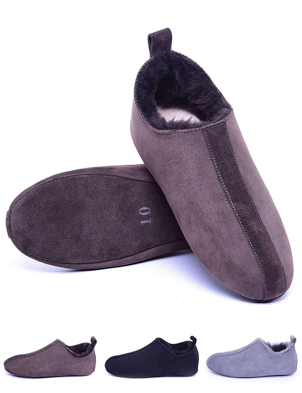 Men Sheepskin Slippers Slip On,Shearling Slippers Indoor for House Office,Soft Leather Sole,Unisex