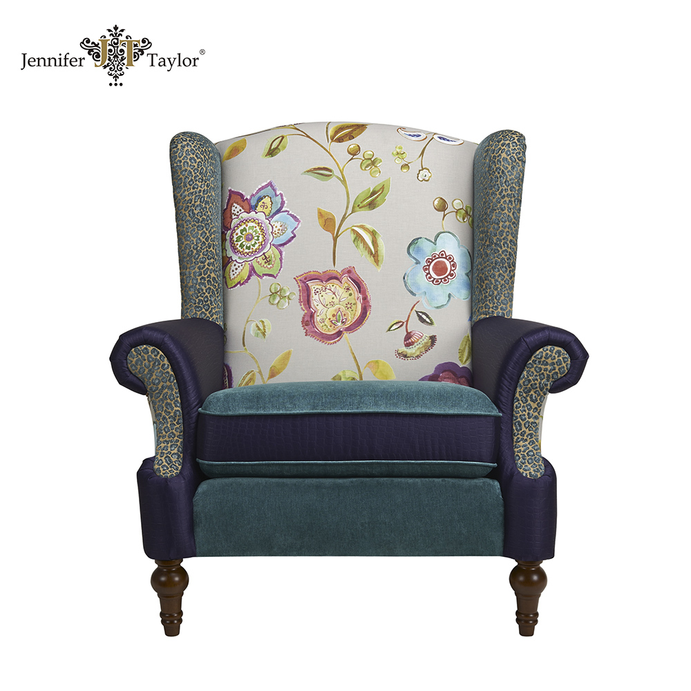 Single Seater Fabric Patchwork Upholstered Sofa Chair Luxury Throne