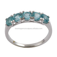925 sterling silver ring with blue topaz gemstones rings