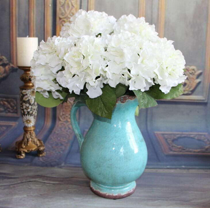 Gnw Fl Hy46 19cm Hot Sale Colorful Fake Hydrangea Flower With Green