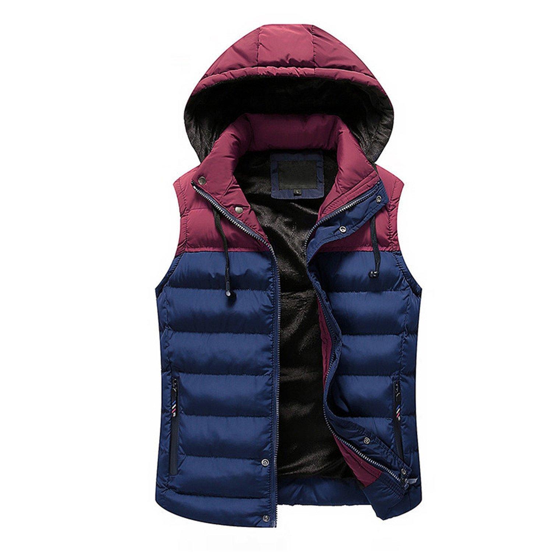 Jwhui Men Slim Fit Jacket Sleeveless Casual Vest Men Cotton-Padded Mens Vest