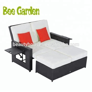 Double Seat Swimming Pool Rattan Beach Sun Lounger