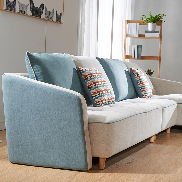 Cheap Sky Blue Leather Sofa Set Living Room Furniture