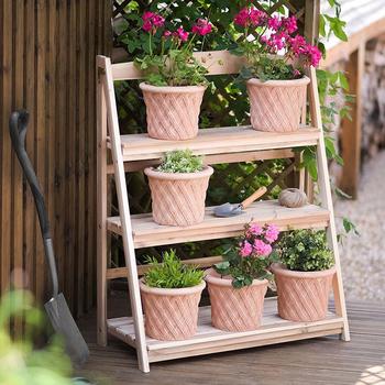 3 Tier Outdoor Plant Stand Rack Wooden