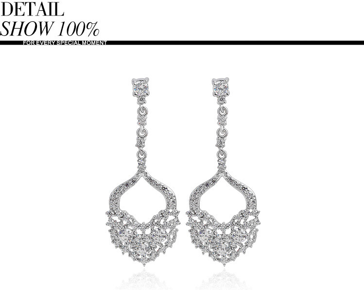 LUOTEEMI Jewelry factory sale aaa cubic zirconia anti-allergy long dangle earring luxury sexy europe style women party jewelry