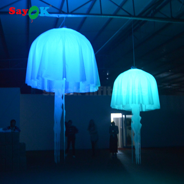 costume changeable color led inflatable jellyfish for stage decoration