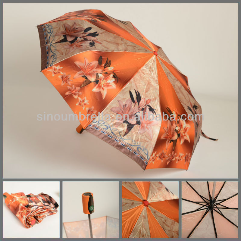 promotional 3 fold outdoor automatic umbrella beach
