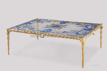 Gilded Bronze Coffee Table With Stained Glass Patterned Top, Unique Design  Glass Enamel Brass Square