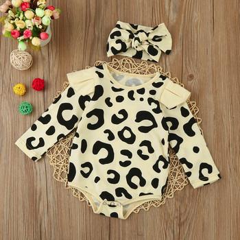 a2c89c0b3f65 2017 Newborn Toddler Baby Boys girls Long Sleeve Leopard Print Romper  Jumpsuit+Headband baby girl