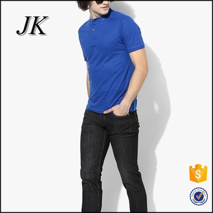 d24a1bd2 Mens Royal Blue Solid Color Mandarin Collar Short Sleeve Polo T Shirt