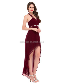New Design Sexy Western Dress V-neck And Sexy Indian Chiffon Halter  Burgundy High- b93a3e600