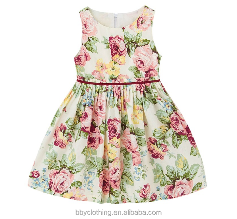 Floral Print Sleeveless Cotton Princess Wedding Little Girls Dress Party Flower Children Beach Kid Summer Dress Girl 2017
